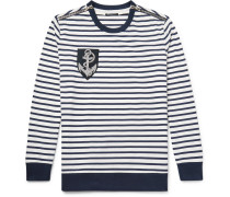 Zip-detailed Appliquéd Striped Cotton Sweater