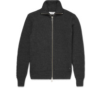 Ribbed Wool Zip-up Sweater