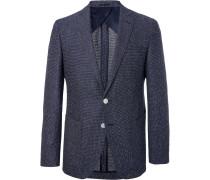 Navy Raye Slim-fit Unstructured Tweed Blazer - Blue