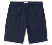 Prince of Wales Checked Cotton-Blend Seersucker Drawstring Shorts