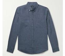 Slim-Fit Button-Down Collar Linen-Blend Chambray Shirt