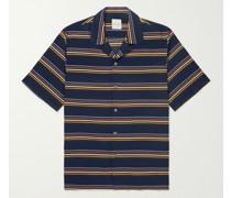 Convertible-Collar Striped Twill Shirt