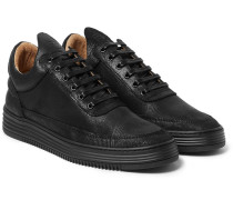 Monotone Embossed Leather Sneakers