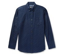 Button-Down Collar Indigo-Dyed Printed Cotton-Twill Shirt