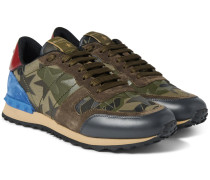 Rockrunner Camouflage-print Canvas, Leather And Suede Sneakers