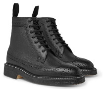 Pebble-grain Leather Longwing Brogue Boots