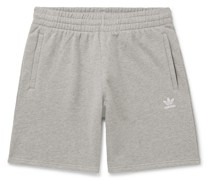 Wide-Leg Logo-Embroidered Mélange Loopback Cotton-Jersey Shorts