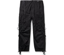 Wide-Leg Grosgrain-Trimmed Cotton-Twill Cargo Trousers