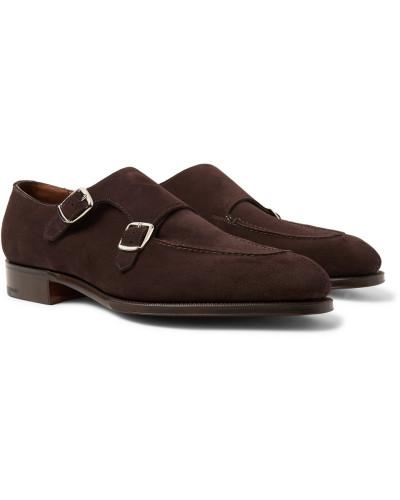 Fulham Suede Monk-strap Shoes - Dark brown