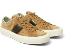 Cambridge Polished Leather-panelled Suede Sneakers