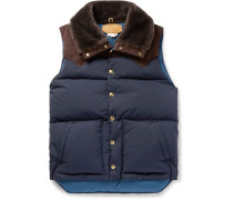 + Rocky Mountain Featherbed Suede And Shearling-trimmed Quilted Faille Down Gilet