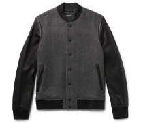 Wool-blend Twill And Leather Bomber Jacket