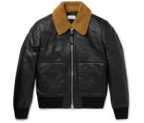 Shearling-trimmed Leather Bomber Jacket