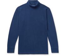 Indigo-dyed Stretch-cotton Rollneck T-shirt