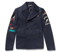 Embroidered Wool-felt Peacoat