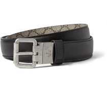 3cm Black And Grey Reversible Leather Belt