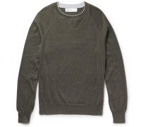 Contrast-tipped Cotton Sweater