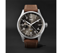 Big Crown Propilot Gmt Automatic 45mm Stainless Steel And Suede Watch
