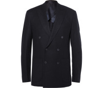 Blue Slim-fit Double-breasted Cashmere Blazer