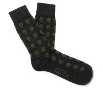 Skull-patterned Cotton-blend Jacquard Socks