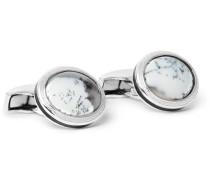 Rhodium-plated Opal Cufflinks