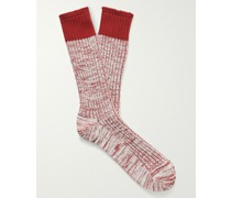 Ribbed Mélange Cotton-Blend Socks