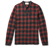 Slim-fit Neck-tie Checked Wool And Cotton-blend Flannel Shirt