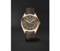 Fiftysix Automatic 40mm Pink Gold and Leather Watch, Ref. No. 4600E/000R-B576