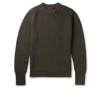 Cardington Leather-trimmed Ribbed Wool-blend Sweater