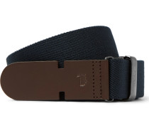 3cm Blue Leather-trimmed Canvas Belt