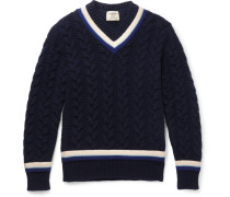 Woodvale Cable-knit Wool Cricket Sweater