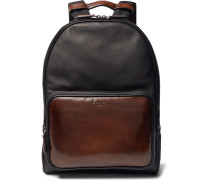 Time Off Suede-trimmed Polished-leather Backpack