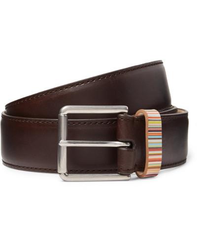 4cm Dark-brown Stripe-trimmed Leather Belt - Brown