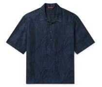 Camp-Collar Printed Linen and Cotton-Blend Half-Placket Shirt