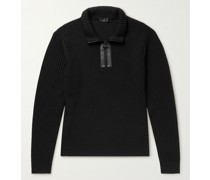 Leather-Trimmed Ribbed Wool Half-Zip Sweater