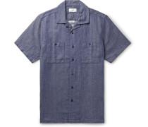 Camp-Collar Cotton-Blend Shirt