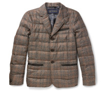 Slim-fit Leather-trimmed Checked Silk And Wool-blend Down Jacket