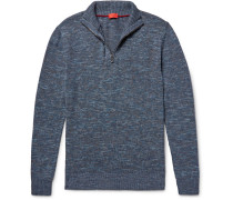 Mélange Cotton And Linen-blend Half-zip Sweater