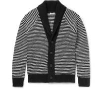 Slim-fit Shawl-collar Striped Merino Wool Cardigan