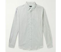 Slim-Fit Button-Down Collar Striped Cotton-Flannel Shirt