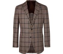 Brown Slim-fit Checked Silk, Linen And Cotton-blend Blazer - Brown
