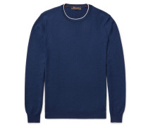 Contrast-tipped Waffle-knit Cashmere Sweater