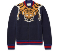 Tiger-intarsia Wool Zip-up Cardigan