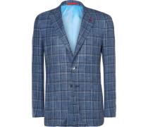 Blue Slim-fit Checked Wool, Linen And Silk-blend Blazer