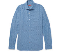 Slim-fit Floral-print Cotton-chambray Shirt