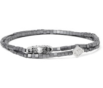White Gold, Hematite And Crystal Wrap Bracelet