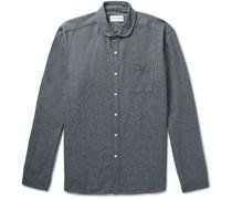 Eton Penny-Collar Mélange Cotton Shirt