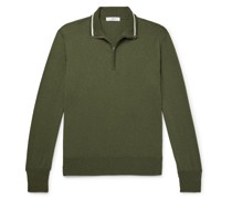 Contrast-Trimmed Silk and Cotton-Blend Half-Zip Sweater