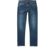 Slim-fit Garment-washed Stretch-denim Jeans