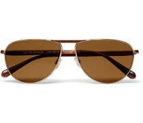 + Oliver Peoples Conduit St Aviator-style Gold-tone And Acetate Polarised Sunglasses